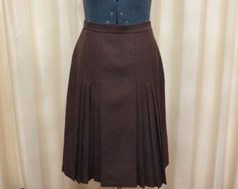 Vintage 50s 60s Made in Australia Fletcher Jones Brown Wool Pleated Skirt