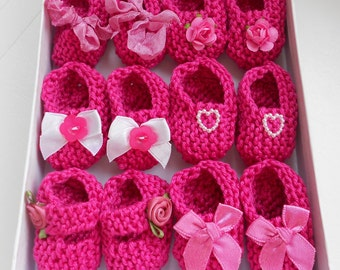 Girl baby shower decorations: 4 pairs hand knit rose raspberry hot pink/ white mini booties decorations - 2 inches - DECORATION SIZE ONLY