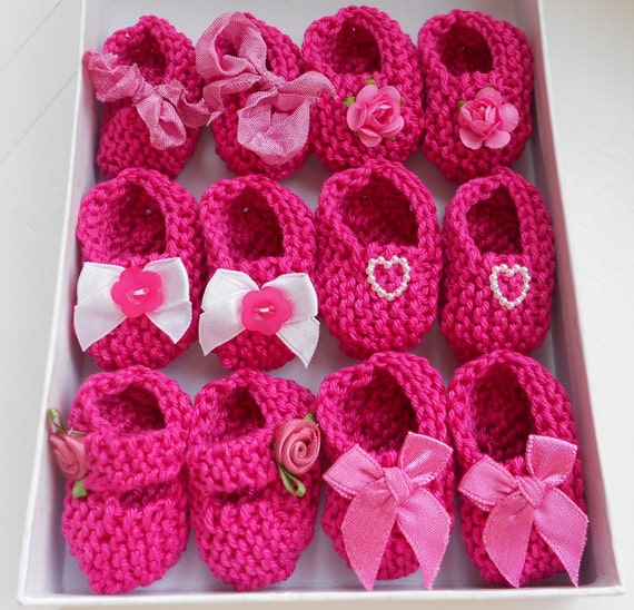 Girl baby shower decorations: 4 pairs hand knit rose raspberry pink mini booties decorations - 2 inches - DECORATION SIZE ONLY