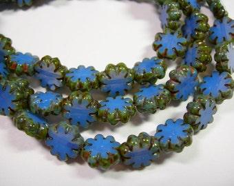 25 beads -Cornflower Blue Picasso Czech Glass Flower Beads 9mm
