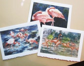 Flamingo - flamingo art, watercolor prints, set of 3 Note Cards handmade Pink, coral, Florida, Tropical birds