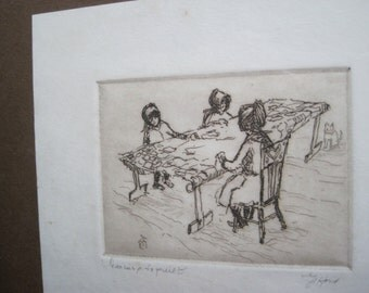 Ed Gifford Original Etching of Women Quilting