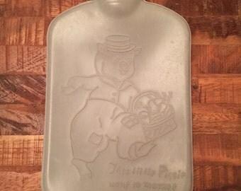 Antique Vintage Blue Little Piggy Went To Market Water Bottle with Stopper.  1950s.