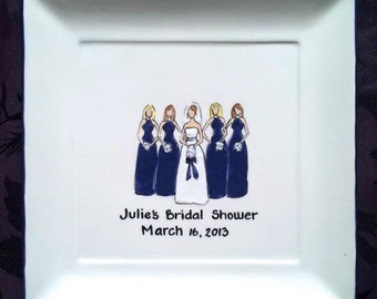 WEDDING GUEST BOOK Bridal Shower Guest Book Bridesmaids Bridal Shower Signature Plate