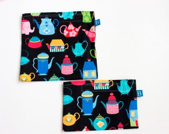 Reuseable Eco-Friendly Set of Snack and Sandwich Bags in Teapot Fabric