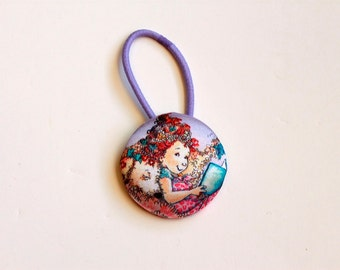 Giant Fancy Nancy Lavender Satin Fabric Covered Button Pony Holder