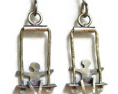 Silver People on Swing Earrings Shorter Version