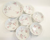 Vintage 7 pc. China Berry Bowl Set Germany Pink Blue Flowers