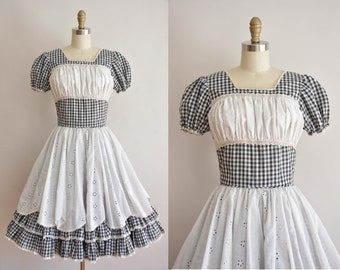 vintage 1950s dress / cotton gingham dress / 50s full skirt dress