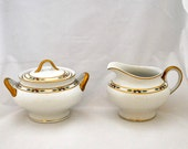 Vintage O. P. Co. Syracuse China Cream and Sugar Set Hand Painted Orleans Pattern