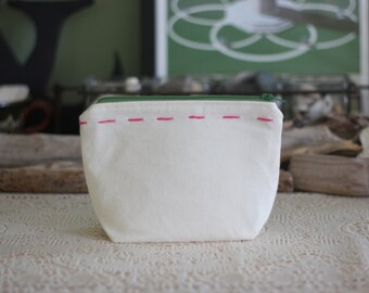 Canvas Cosmetic Pouch Green Zipper - Ready to Ship - One of a Kind