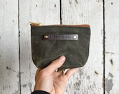 Small Waxed Canvas Pouch: Moss by Peg and Awl