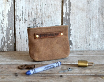 Waxed Canvas PeeWee Pouch in Spice, Small Pouch, Zipper pouch, waxed canvas pouch, zip pouch, coin pouch, change purse, Back to School, SALE