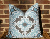 """Decorative Pillow Cover: Contemporary Geometric Design Pillow Cover in Spa Blue, Coffe and White for a 20"""" Pillow"""