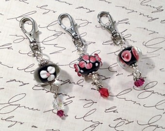 Zipper Pull Trio Lovely Flower Lampwork Beads in Black Hot Pink White Purse Pulls