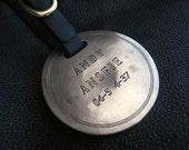 Solid Bronze Golf Bag Sports Luggage Tag ID with Latigo Leather Strap