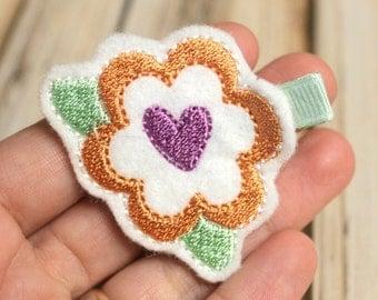 Flower Hair Clip, Felt Hair Clippie, Machine Embroidered, Snap Clip, Non Slip, Ready to Ship