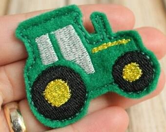 Tractor Hair Clip, Felt Hair Clippie, John Deere Machine Embroidered, Alligator Clip, Non Slip, Ready to Ship