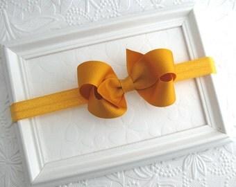 Mustard Baby Headband, Yellow Gold Bow Headband for Infant Baby Girls, Baby Headband, Toddler Headband, Baby Hair Bow, Newborn Headband