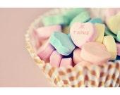 Still Life Photograph, Valentines Day, Food Photography, Kitchen Decor, Candy, Conversation Hearts, Romantic, Retro, Mid Century, Pastel