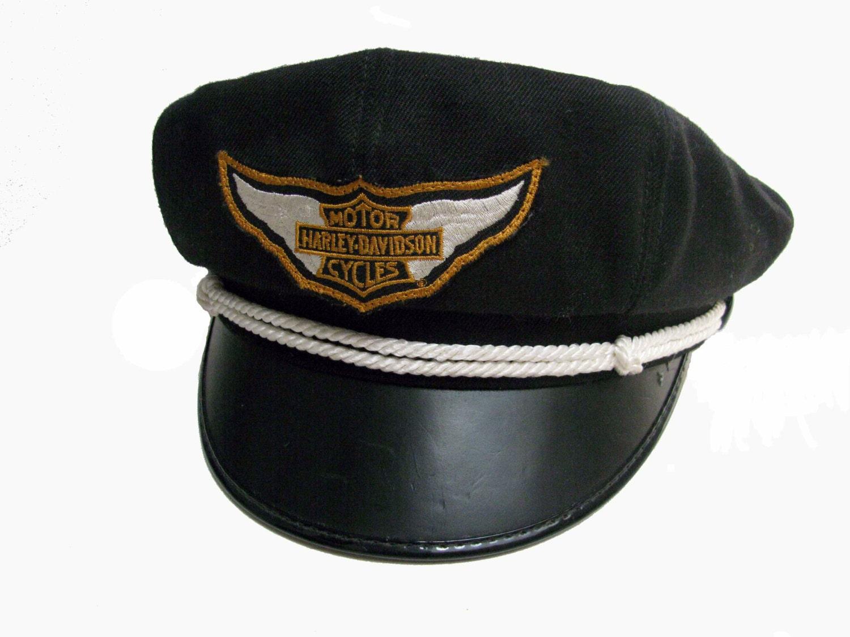 Cool Vintage Harley Davidson Men's Genuine Leather Ivy Hat ...  |Vintage Harley Davidson Hats