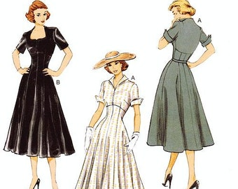 SZ 14 thru 22 - Misses' Fit and Flare Day Dress in Two Variations - Butterick Retro 1952 Reissued Pattern - Butterick Retro B6018