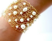 Gold Cuff Gold Natural Ivory Pearl Bracelet Elegant Hand Knit Gold Wire Mesh Arm Cuff Artisan Jewelry Freshwater Pearls Gold Cuff Bracelet