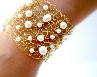 Gold Cuff Bracelet Pearl Cuff Bracelet Unique Jewelry Arm Cuffs Beaded Bracelets Natural Pearl Handmade Jewelry Gift for Women for Wives
