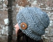 HAT KNIT chunky womens light grey,  super chunky hat, winter hat, gift for her, UK
