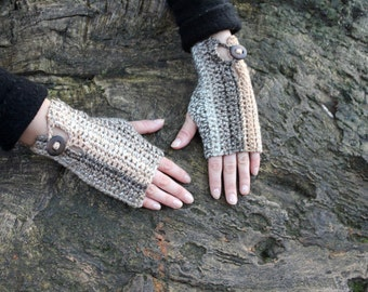 FINGERLESS GLOVES, Crochet mitts in coffee ripple shade with buttons, beige mittens, vegan knitwear UK, gift ideas
