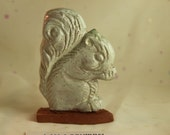Clay Squirrel Vintage figurine Nature forest acorn Spotted White Glaze Handmade