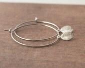 Hoop Earrings,Leaf Earrings,Small Earrings,Delicate Earrings,Simple Hoops,Mothers Day,Mothers Day Gift