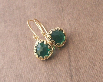 Gold Earrings,Emerald Earrings,Dangle Earrings,Bridesmaids Gift,Bride Earrings,Wedding Earrings