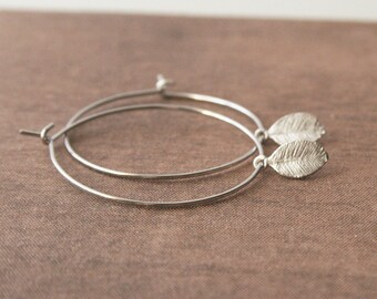 Hoop Earrings,Leaf Earrings,Small Earrings,Delicate Earrings,Simple Hoops,Bridesmaid Gift