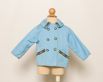 vintage 1960s baby girl's blue folk jacket