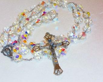 BIG Vintage Catholic Swarovski Crystal Rosary Beads