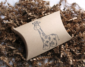 12 Giraffe stamped kraft pillow boxes- usable inside dimensions- 3.5 x 3 x 1 inches