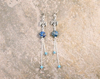 CLEARANCE Long Thunderbird Eagle Chain Bohemian Earrings Turquoise and Blue Jasper