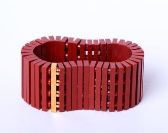 Dark red bracelet with real gold plated brick made with LEGO bricks