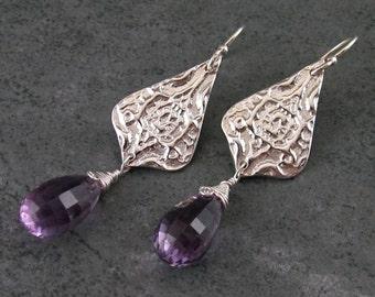 Lavender amethyst earrings, handmade eco friendly fine silver Victorian earrings-OOAK