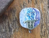 Christmas Pin Blue Christmas Light Bulb Pin Upcycled Pin Recycled Bent Bottle Cap Xmas Bulb Pin  shipping included