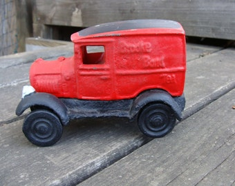Cast Iron Truck Brooke Bond Tea Delivery Truck Cast Iron Red AntiqueTruck Collectable