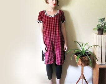 SALE vintage dress tunic 90s gingham plaid red black white 1990s womens clothing size small s medium m