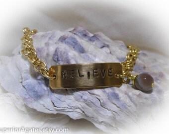 Believe Hand Stamped Bracelet size 8