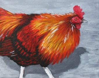 Bantam Rooster Painting - 12x12 Acrylic Original Chicken Portrait - Farm Bird - Art by PennyBirchWilliams