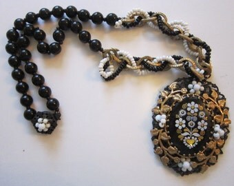 vintage MIRIAM HASKELL necklace - folk inspired, Victorian inspired - black and gold - floral enamel, rare, htf