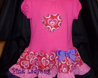 Pink and Purple Hearts Drop Waist T-Shirt Dress - Size 3T is Ready to Ship