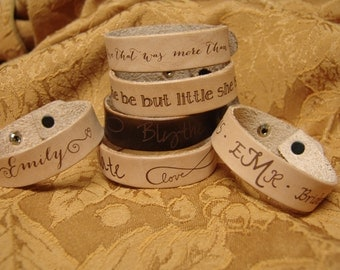 Custom leather bracelet with name, logo, favorite quote, etc.