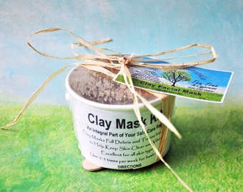 All Natural Vegan Clay Facial Mask Kit Made with Therapeutic Essential Oils - Gentle Care for a Clear complexion