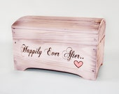 Large 'Happily Ever After' Card Box for Wedding Cards- holds 250-300 cards in Light Pink
